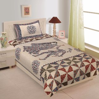 Buy Beautiful Pure Cotton Single Bedsheet with One Pillow Cover
