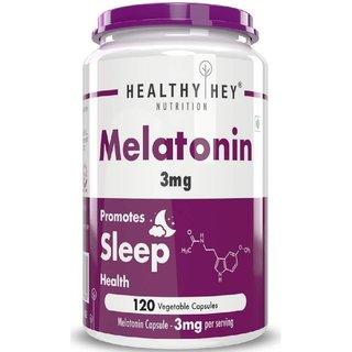 HealthyHey Nutrition Sleep Aid Melatonin 3mg, 120 Vegetable Capsules - Promotes Sleep and Relaxation