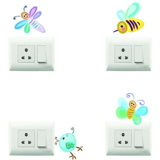 100yellow Honey bee Theme PVC Vinyl switch board sticker for Light Switches- Set of 4