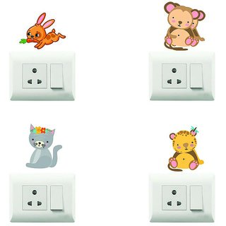 100yellow Animal Theme PVC Vinyl switch board sticker for Light Switches- Set of 4