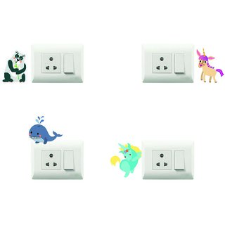 100yellow Animal Theme PVC Vinyl switch board sticker for Light Switches- Set of 4(for kids room)