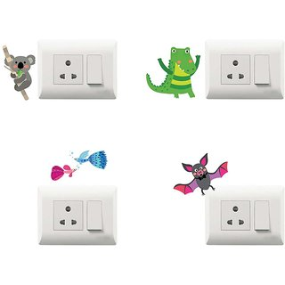 100yellow Multicolor Decorative Beautiful Modern Art Kids Room Switch Board Stickers-Set of 4