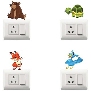 100yellow Animal Theme PVC Vinyl switch board sticker for Light Switches- Pack of 4