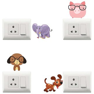 100yellow multicolor funny theme printed PVC Vinyl switch board sticker for Light Switches- Set of 4
