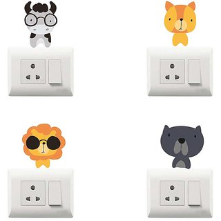 100yellow funny theme printed PVC Vinyl switch board sticker for Light Switches- Set of 4