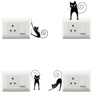 100yellow Cat Theme PVC Vinyl switch board sticker for Light Switches- Pack of 4