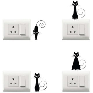 100yellow Cat Theme PVC Vinyl switch board sticker for Light Switches- Set of 4(for kids room)