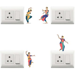 100yellow Dancing Theme PVC Vinyl switch board sticker for Light Switches- Pack of 4