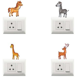 100yellow Dancing Theme PVC Vinyl Decorative switch board sticker for Light Switches- Pack of 4
