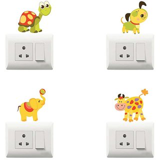 100yellow Animal Theme PVC Vinyl switch board sticker for wall decor- Pack of 4