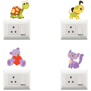 100yellow Animal Theme PVC Vinyl switch board sticker for wall decorative- Pack of 4