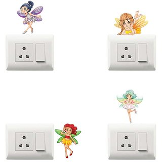 100yellow Fairy Theme PVC Vinyl switch board sticker for Light Switches- Set of 4(for kids room)