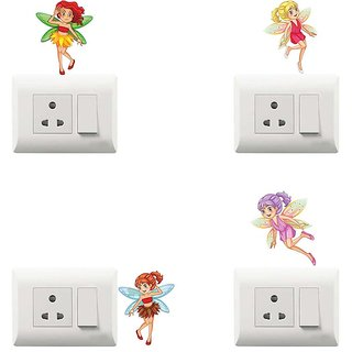 100yellow Fairy printed PVC Vinyl switch board sticker for Light Switches- ideal for Kids room (Set of 4)