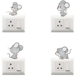 100yellow Mouse Theme PVC Vinyl switch board sticker for Wall decor- Set of 4 (for kids room)
