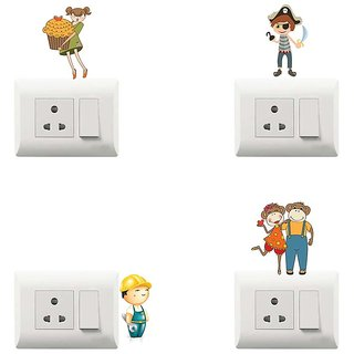 100yellow funny theme printed PVC Vinyl switch board sticker for wall decor- Set of 4