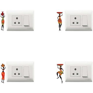 100yellow Dancing Theme PVC Vinyl switch board sticker for home decor- Pack of 4