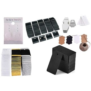 DIY Crafts 100 Pcs Mix Retails Black White Brawn Card Tags for Velour Plain Earring Cards & Jewellery Display Card Jewelry Accessory Random Diffrent Mix Pcs Each x 1 Roll Hemp Mix 6 Shapes