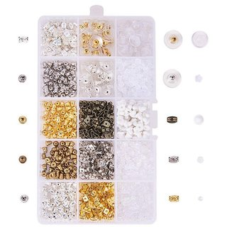 DIY Crafts Elite Elite 1 Box About 1380Pcs Brass Iron and Plastic Earnuts Earring Stoppers Sets Mixed Color for Jewelry Making Findings