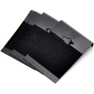 DIY Crafts Black Ear Hooks Earring Plastic Display Cards, Sold Per Pack of 100 2 x 2 inch (Black) Display Cards