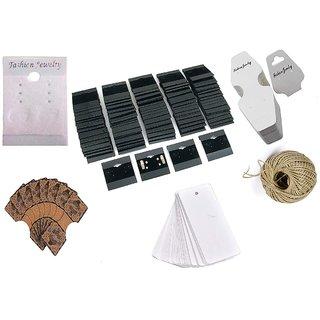 DIY Crafts 100 Pcs Mix Retails Black White Brawn Card Tags for Velour Plain Earring Cards & Jewellery Display Card Jewelry Accessory Random Diffrent Mix Pcs Each x 1 Roll Hemp 6 Shapes Total 100 Pcs