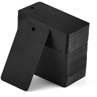 DIY Crafts Black Velvet Plastic Display Cards for Earrings (3.5 X 2 Inches) (Pack of 100 Cards)