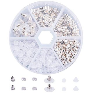 DIY Crafts Elite About 250 Pcs 5 Style Brass and Plastic Earnut Earring Studs Sets Silver in One Box for Jewelry Making