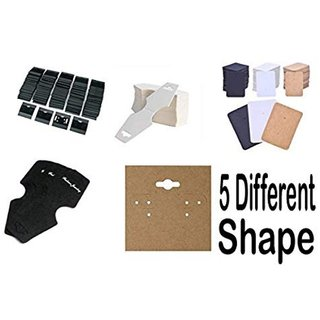 DIY Crafts Count of 100 Pcs Mix Retails Black White Velour Plain Earring Cards  Jewellery Card for Jewelry Accessory Display (Black White Brawn Card Board) Jewellery Display Cards Random Shape Mix 5 Items