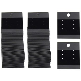 DIY Crafts 100 - Pcs - 1 X 100 Pcs Earring Cards, Velvet Plastic Display Earring Card Holder for Jewelry Accessory Display 2 x 2 inch (Black)