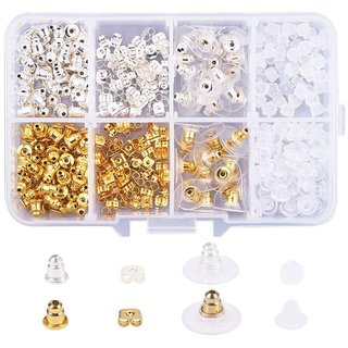 DIY Crafts Elite 320 Pcs 5 Style Brass and Plastic Earnut Earring Studs Sets Mixed Colors in One Box for Jewelry Making