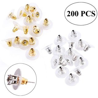DIY Crafts 200pcs Earring Safety Backs Replacement with 2 Storage Boxes, Ear Nut Hypoallergenic (100 Silver and 100 Golden)