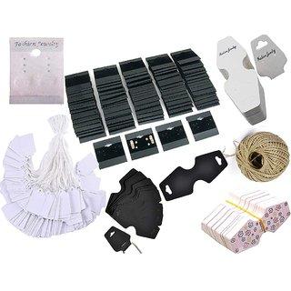 DIY Crafts 1000 Pcs Mix Retails Kit, 900 White Tags & 100 Mix Each 8 Shape Total 100 Pcs Black,White, Brawn Card, for Velour Plain Earring Cards & Jewellery Display Card Accessory Random 1x Roll Hemp