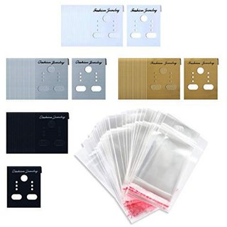 DIY Crafts 100 - Pcs - 1 X Earring Display Hang Cards Black Flocked 2 X 2 Inch (100) Mix Combo Items 100 Pieces Mix Colors Earring Display Cards Ear Stud Cards and 100 Pack Self-Seal Bags