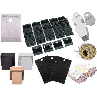 DIY Crafts 100 Pcs Mix Retails Black White Brawn Card Tags for Velour Plain Earring Cards & Jewellery Display Card Jewelry Accessory Random Diffrent Mix Each x 1 Roll Hemp Combo 8 Shape Total 100 Pcs