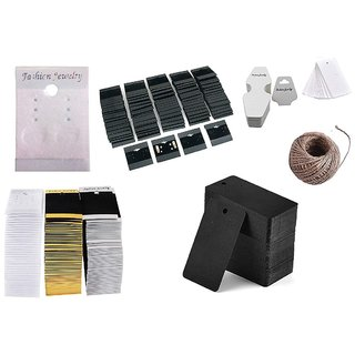 DIY Crafts 100 Pcs Mix Retails Black White Brawn Card Tags for Velour Plain Earring Cards  Jewellery Display Card Jewelry Accessory Random Diffrent Mix Pcs Each x 1 Roll Hemp 6 Shapes Total 100 Pcs