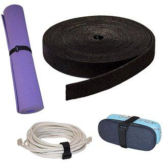 DIY Crafts 16mm Reusable Fastening Roll Hook & Loop Reusable Cable Ties Wraps Straps Adjustable Multi-Purpose Hook and Loop Cord Roll For Keep Cords Organized Tidy (20 Meter, 16mm Black Loop & Hook)