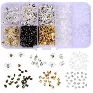 DIY Crafts Earring backings Supla 10 Styles Earring Back Clips Bullet Shape Earring Backs Butterfly Metal Rubber Plastic Secure Earring Backs(Pack of 1040 pcs)