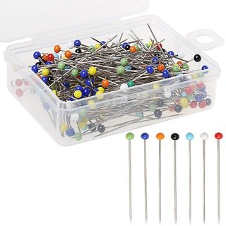DIY Crafts Sewing Pins 38mm Glass Ball Head Pins for Dressmaking with Transparent Cases, 10 Assorted colors(pack of 1200)