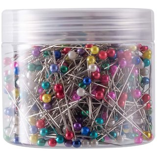 DIY Crafts Sewing Pins 38mm Pearlized Ball Head Pins for Dressmaking with Transparent Cases, Multicolors(pack of 1200)