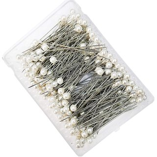 DIY Crafts Round Faux Pearl Head Corsage Sewing Pins Straight Dressmaking Pins (Pack of 144)