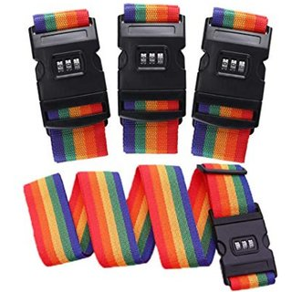DIY Crafts Luggage Straps Suitcase Lock Belt Strap Heavy Duty Luggage Straps Rainbow Color Adjustable Suitcase Belts For Traveling Business Trip (Pack Of 4 Pc, Multi - Color)
