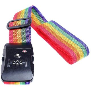 DIY Crafts Luggage Straps Suitcase Lock Belt Strap Heavy Duty Luggage Straps Rainbow Color Adjustable Suitcase Belts For Traveling Business Trip (Pack Of 5 Pc, Multi - Color)