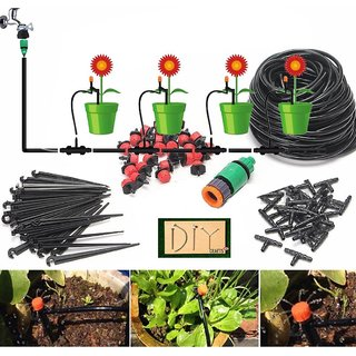 DIY Crafts 35Mtr Hose Micro Drip Irrigation System Automatic Watering Garden