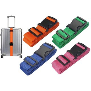 DIY Crafts 1inch Luggage Straps Suitcase Lock Belt Strap Luggage Straps Rainbow Color Adjustable Suitcase Belts For Traveling Business Trip (Pack Of 4 Pcs, Multi - Color)