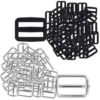 DIY Crafts 1 inch Metal & Plastic Tri-Glides Rectangle Adjustable Webbing Slider(Pack of 60 Pcs)(Black & Silver)