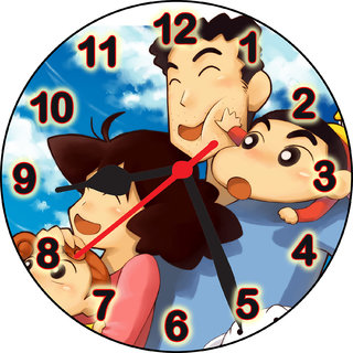 ske designer shin chan with family wall clock