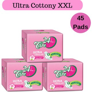 24 Care Ultra Cottony Soft XXL 320mm Pack 3 Of 45 Sanitary Napkins Pads
