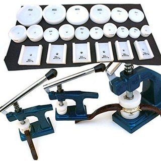 DIY Crafts Jumbo Glass Press Caseback Fitting Machine with 24 Round, Square, Rectangle Dies
