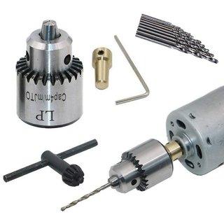 DIY Crafts Mini 0.3-4 mm Electric Drill Chuck and Twist Drills Set (Multicolour, M)