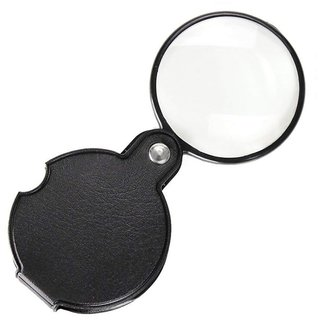 DIY Crafts Pocket Folding Mini 10X Magnifying 60 MM Diameter Magnifier Bigeye Glass Lens Loupe with Rotating Protective Holster for Reading Aid Maps Photographs Documents, Black, Free PU Leather Pouch Case