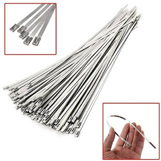 DIY Crafts 10 Inche 304 Stainless Steel Cable Zip Ties Exhaust Wrap Coated Locking Application Range Mine Ship Automotive Parts Petroleum Electricity Computer Wire Harness Repair (10 Pc Pack, Silver)